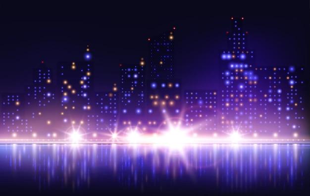 川の堤防のイラストと夜の街の照明の構成