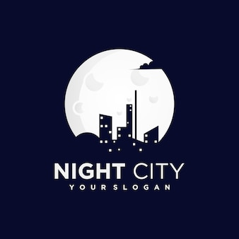 Night city logo with a silhouette of city and building views