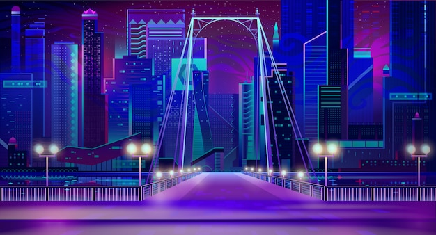 Night city neon lights, bridge entry, quay, lamps