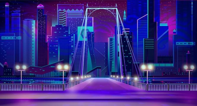 Night city neon lights, bridge entry, quay, lamps
