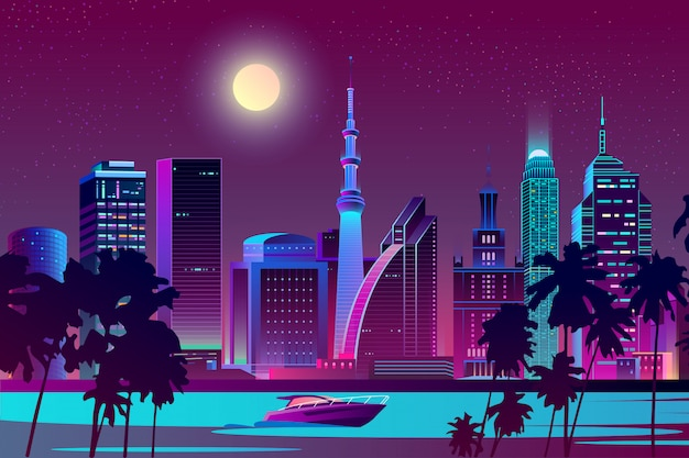 Night city on river, tropical megapolis