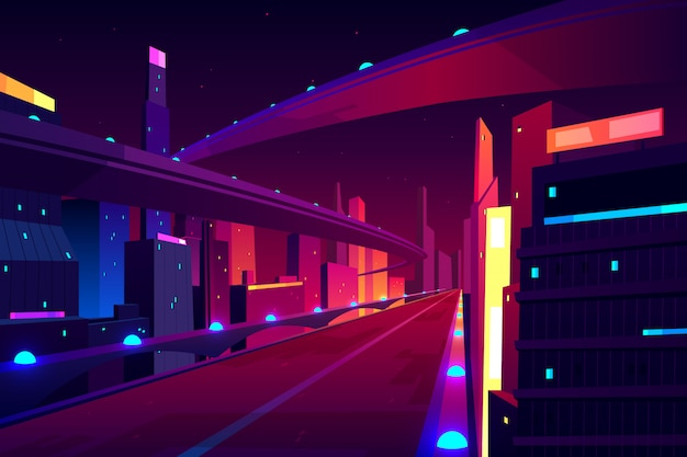 Night city road, empty streetscape freeway, speed two-lane highway, overpass or bridge in metropolis.