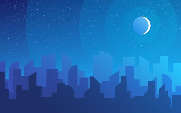 夜の街のスカイラインの風景、夜間の町の建物と都市の街並みの町の空。昼間の街並み。ダウンタウンの背景の建築シルエット。
