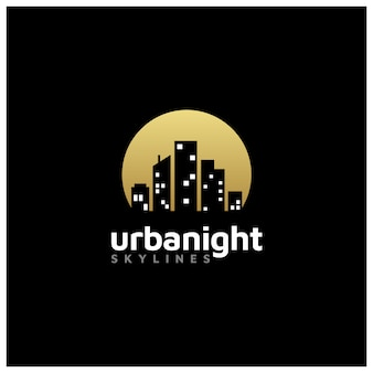 Night city skyline for real estate logo