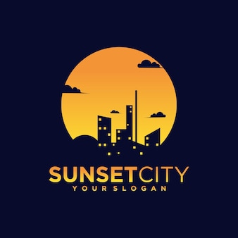 Night city, sunset logo with a silhouette of city and building views