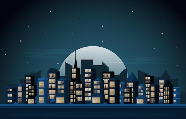 밤 도시 도시 마천루 건물 도시 풍경 보기 평면 디자인 일러스트 레이 션