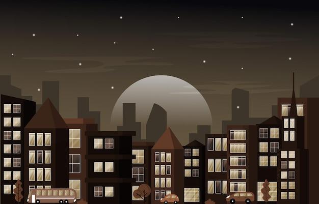 夜の街アーバン超高層ビルビル街並みフラットデザインイラストを表示