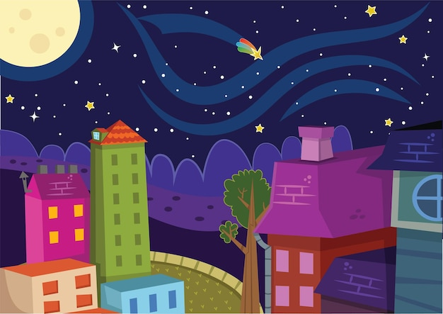 Night and city vector illustration
