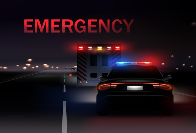 Night city with police and ambulance cars with sirens on the road.  realistic illustration