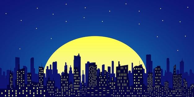 보름달과 별이 빛나는 하늘을 배경으로 고층 빌딩이있는 밤 도시