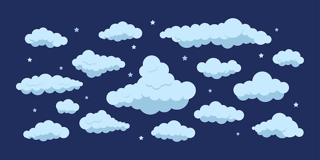 Night clouds with stars icon set isolated on dark sky background.