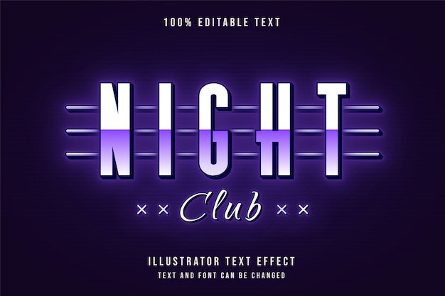 Ночной клуб, 3d редактируемый текстовый эффект фиолетовый градиент неоновый стиль текста