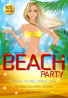 Night club beach party poster template