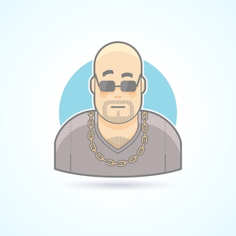 Night club bouncer, security chief, bodyguard icon. avatar and person illustration.  colored outlined style.