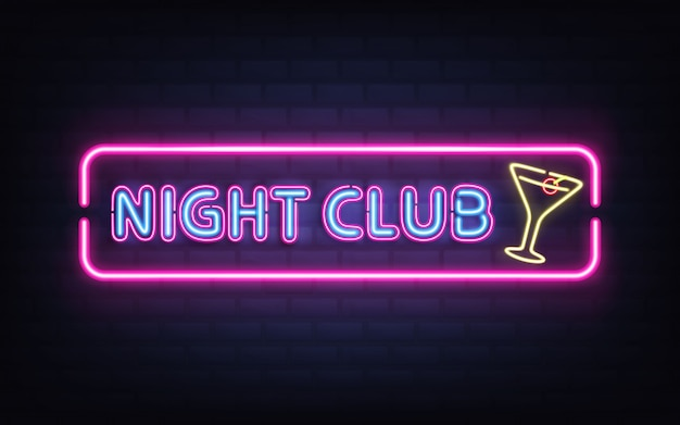 Night club, cocktail bar bright neon retro signboard realistic vector with glowing fluorescent blue light letters, yellow cocktail glass with olive, violet, pink frame on dark brick wall illustration