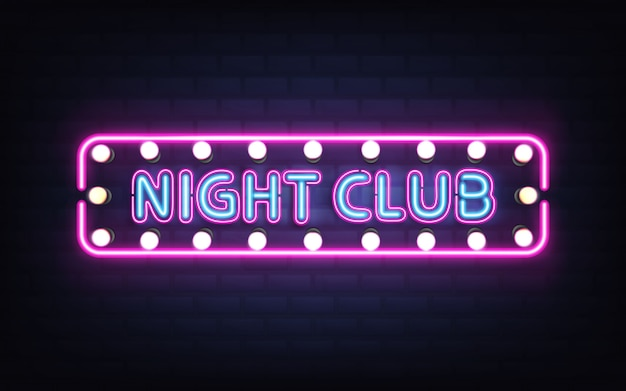 Night club, disco bar or pub glowing bright neon light, retro signboard on brick wall 3d realistic vector with blue letters, white bulb lamps and violet, pink fluorescent illumination