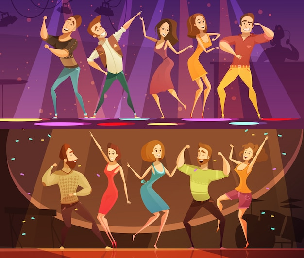 Night club disco party free motion modern dancing 2 horizontal cartoon festive banners set isolated