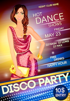 Night club disco party poster template