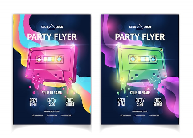 Night club dj party poster or flyer template, retro music event or concert cartoon vector advertising