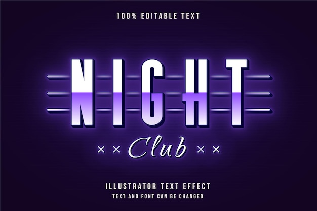Night club,editable text effect purple gradation neon text style