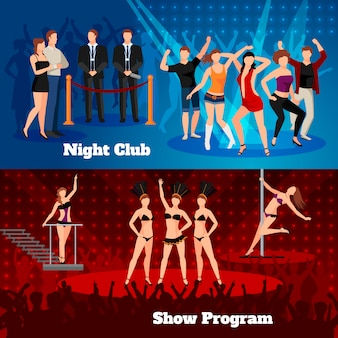 Night club erotic pole dance show program 2 flat horizontal banners