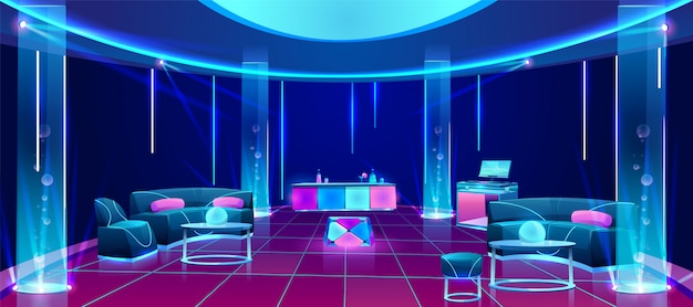 Night club interior with furniture