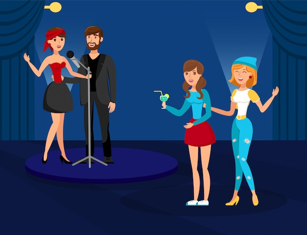 Night club karaoke party flat vector illustration