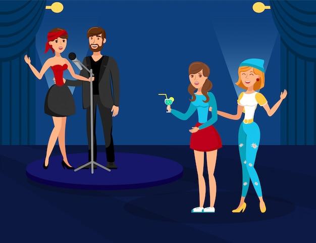 Night club karaoke party flat vector illustration