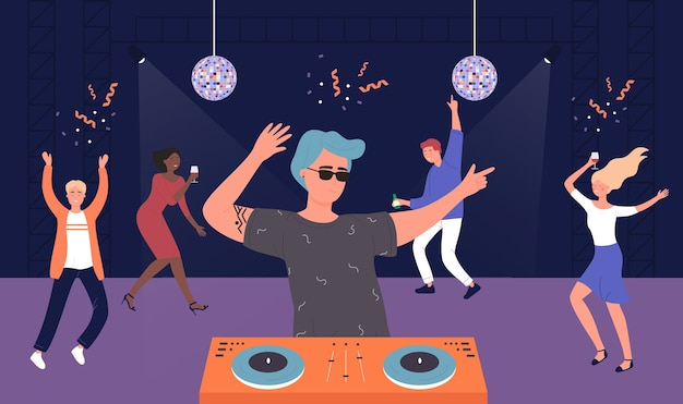Night club musical party, cartoon friends people listen to dj music and dancing