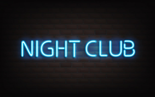 Night club neon lettering on dark brick wall background.