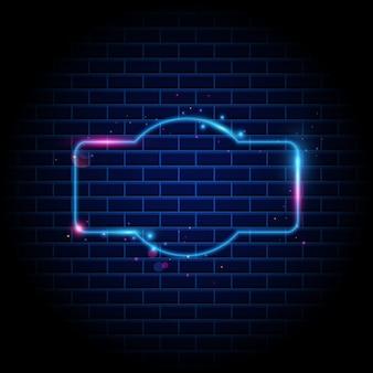 Night club neon sign on brick wall background