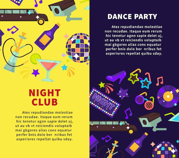 Night club party and dance party vector posters