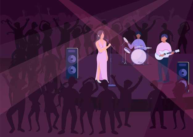 Night club party flat color . evening dancing show. loud music concert. famous rock group 2d cartoon characters with popular night club with lots of people