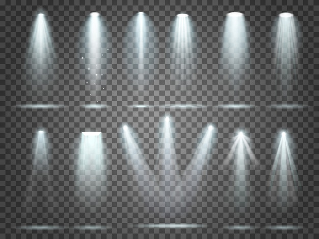 Night club party floodlights on scene and white spotlights lighting interior vector realistic 3d set