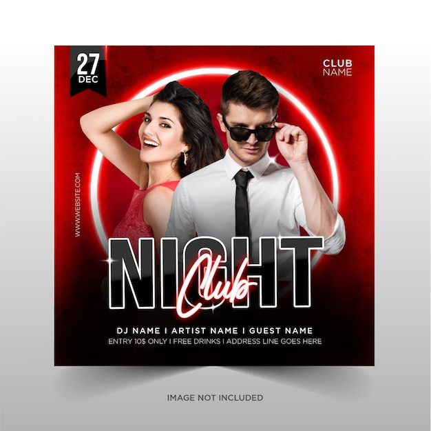 Дизайн night club party для продвижения в социальных сетях