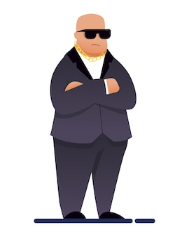 Night club security chief bouncer in suit isolated