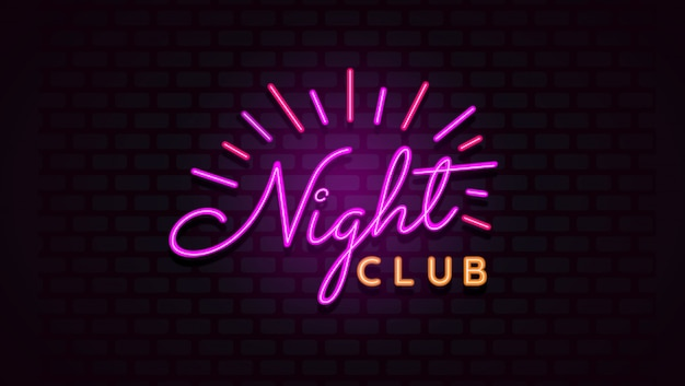 Night club sign with neon light on brick wall background.
