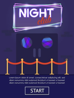 Night club vertical flat banner with start button