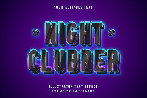 Night clubber,3d editable text effect blue gradation pink neon style