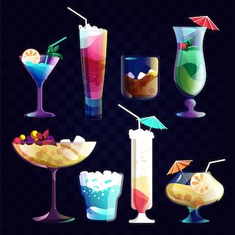 夜のカクテル。グラスにアルコールカクテルとトロピカルジュース飲料。夜のパーティーイラストのドリンクセット