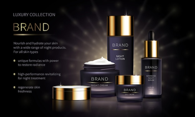 Night cosmetic line for face skin care