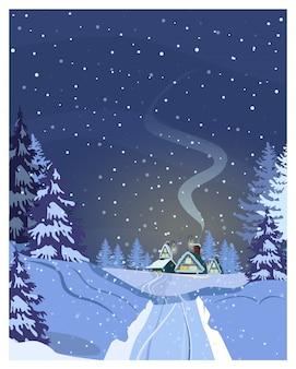 주택, 눈 덮인 도로 및 전나무 나무와 밤 국가 장면