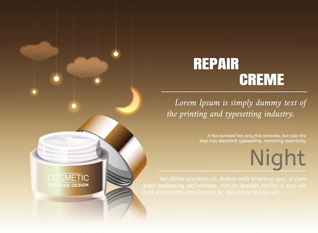 Night cream cosmetic promotional poster template. pink petal blooms japanese branch.