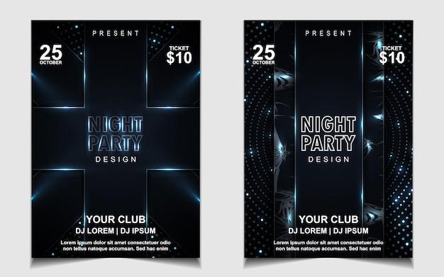 ナイトダンスパーティー音楽チラシやポスターデザイン