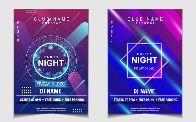 Night dance party music flyer or poster design