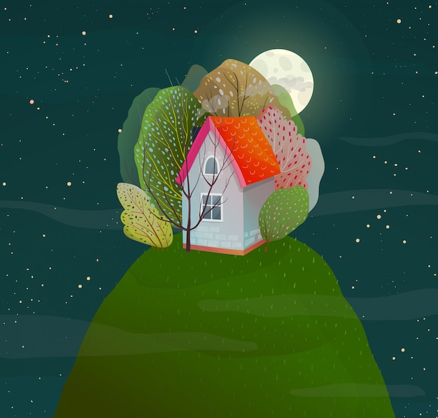 Night dark romantic hose in nature on top of the hill with forest. vector watercolor style.