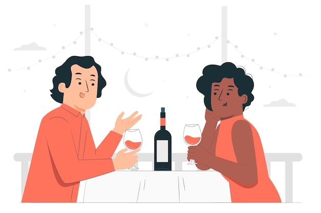Night dateconcept illustration