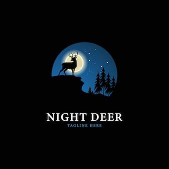 Night deer logo design template vector illustration