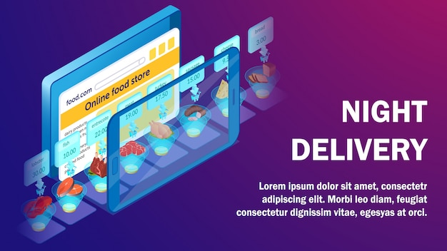 Night delivery service isometric banner template