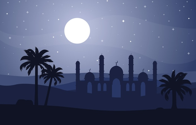 Night desert islamic mosque date palm tree arabian landscape illustration